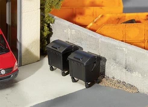 Faller HO Gauge 2 x Black Garbage Bins # FA180933