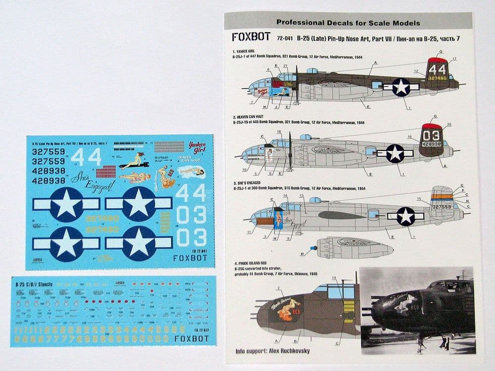 Foxbot Decals 1/72 North-American B-25G/J Mitchell (Late) Pin-Up Nose Art & Stencils Part 7 # FBOT72