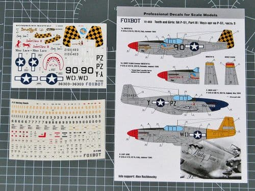 Foxbot Decals 1/72 North-American P-51 Mustang Nose Art Part 3 # FBOT72053