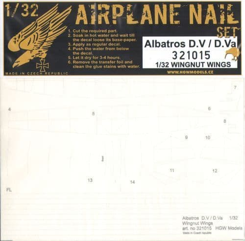 HGW 1/48 Albatros D.V / D.Va Airplane Nail Set # 321015