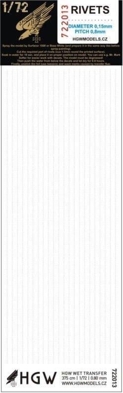 HGW 1/72 Single Lines - Rivets 0.80mm 375cm # 722013