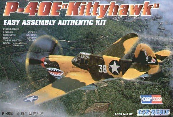 Hobby Boss 1/72 Curtiss P-40E Kittyhawk Easy Assembly # 80250