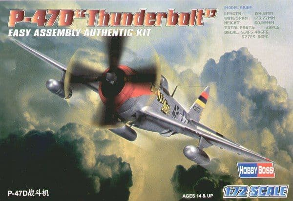 Hobby Boss 1/72 Republic P-47D Thunderbolt Easy Assembly # 80257