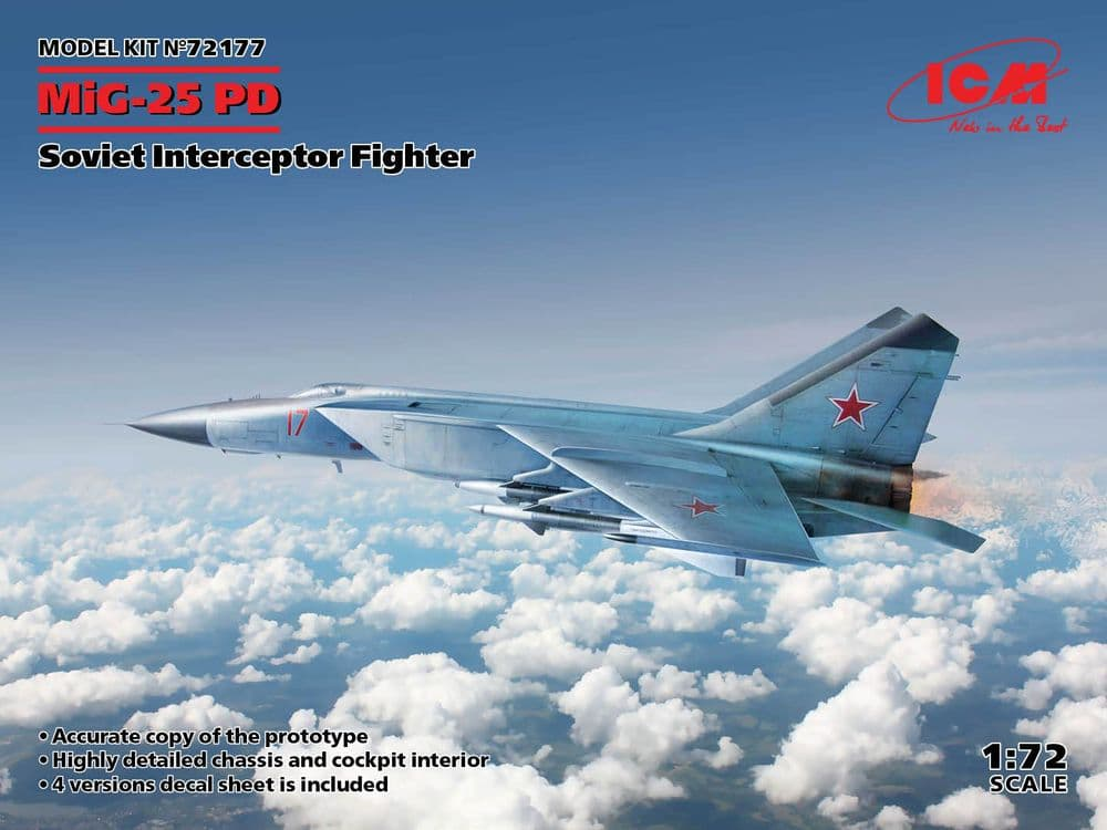 ICM 1/72 Mikoyan MiG-25PD Soviet Interceptor Fighter # 72177
