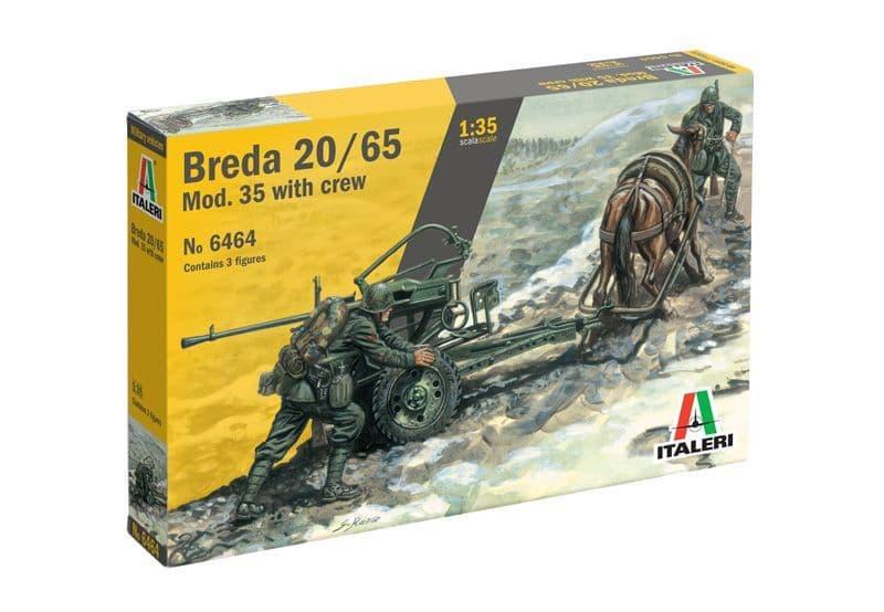 Italeri 1/35 Horse Drawn Breda 20/65 Mod. 35 with Crew # 6464