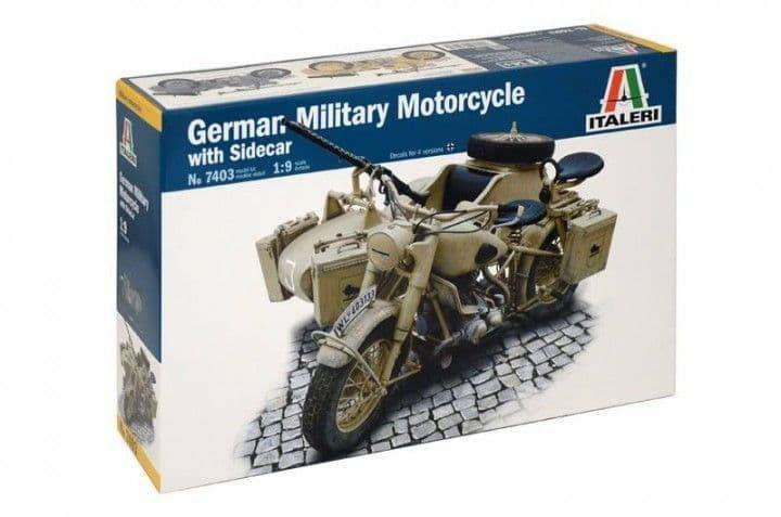 Italeri 1/9 BMW R75 German Military Motorcycle with Sidecar # 7403