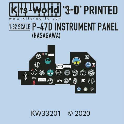 Kits-World 1/32 Full Colour 3D Republic P-47D Thunderbolt Cockpit Instrument Panel # 3D1321001