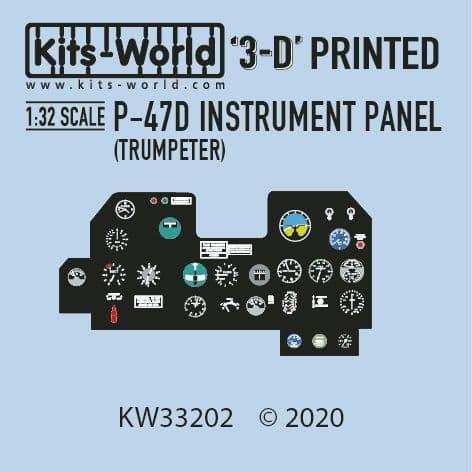 Kits-World 1/32 Full Colour 3D Republic P-47D Thunderbolt Cockpit Instrument Panel # 3D1321002