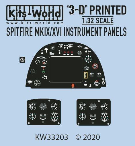 Kits-World 1/32 Full Colour 3D Supermarine Spitfire Mk.IX/XVI Cockpit Instrument Panel # 3D1321003