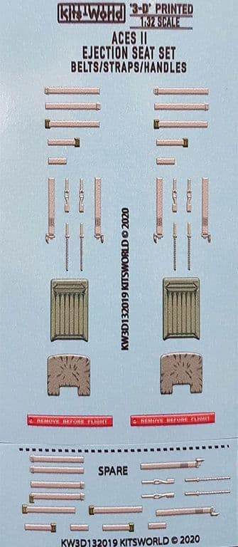 Kits-World 1/32 Full Colour 3D WWII Aces II Ejection Seat Decal Set # 3D132019