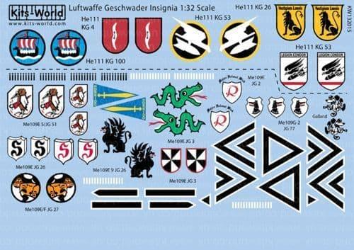 Kits-World 1/32 Luftwaffe Geschwader Insignia # 132015