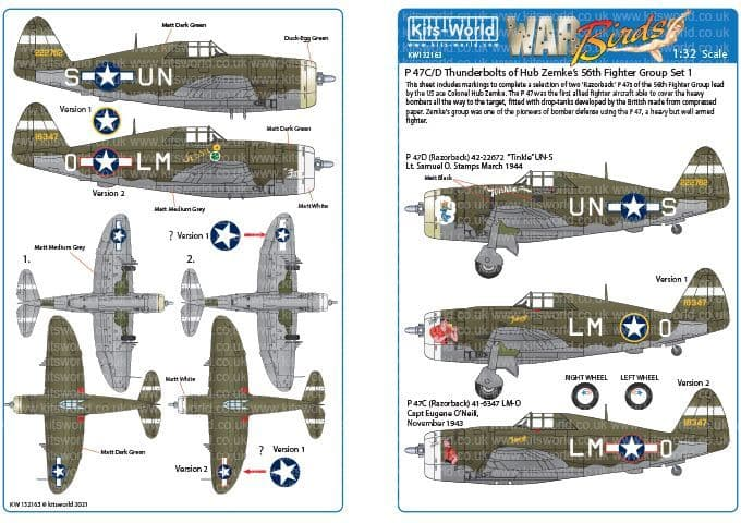 Kits-World 1/32 Republic P-47C/Ds of the 56th Fighter Group # 132163