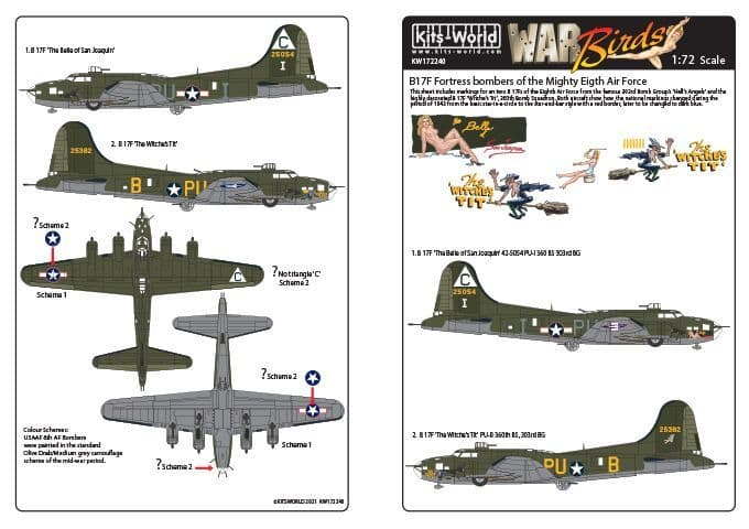 Kits-World 1/72 B-17 Fortress Bombers of the Eigth Air Force # 172240