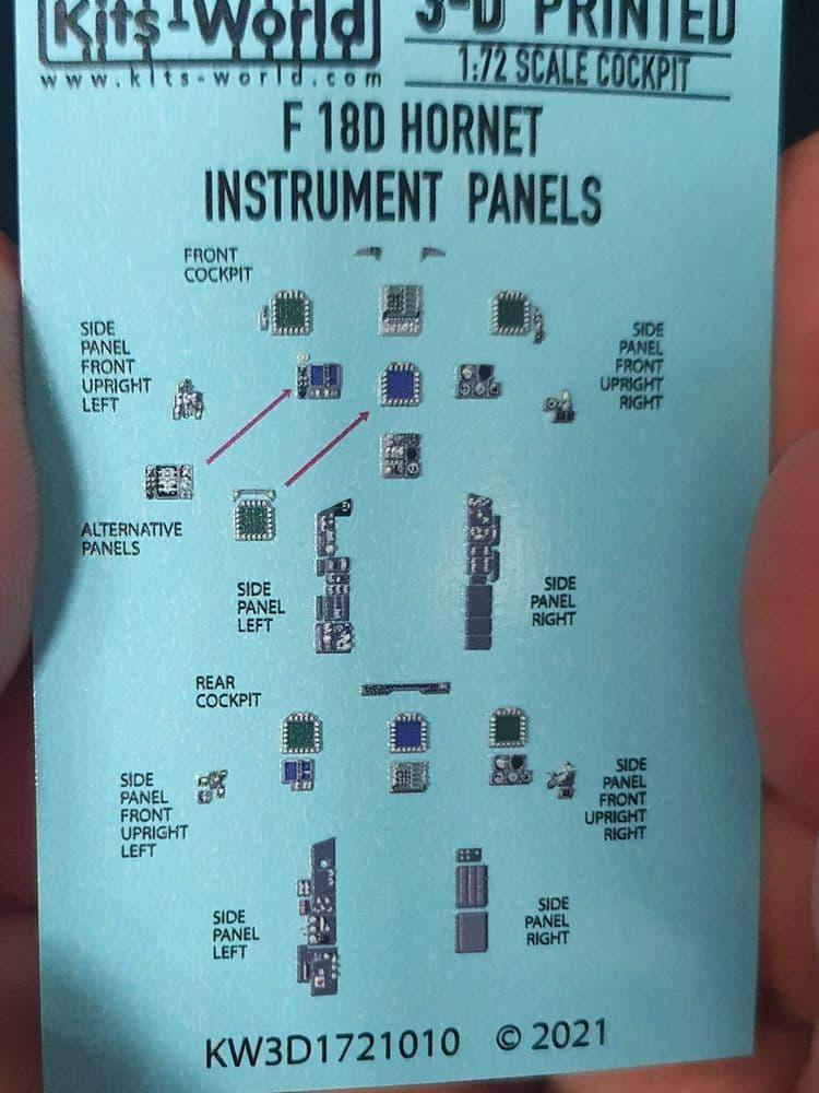 Kits-World 1/72 F/A-18D Hornet (Screens Off) Instrument Panels # 3D1721010