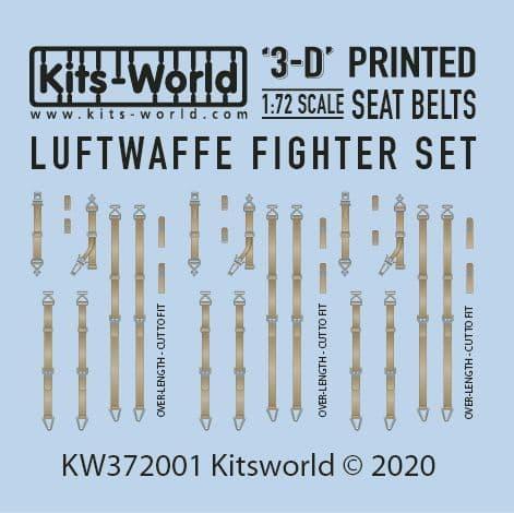 Kits-World 1/72 Full Colour 3D Luftwaffe Fighter Seat Belt Decal Set # 3D372001
