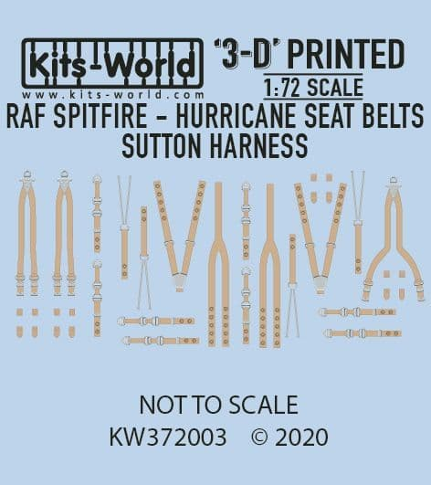 Kits-World 1/72 Full Colour 3D RAF Spitfire/Hurricane Seat Belt & Sutton Harness Decal Set # 3D37200