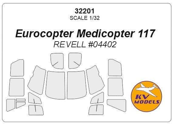 KV Models 1/32 Eurocopter Medicopter 117 Canopy Paint Mask # 32201