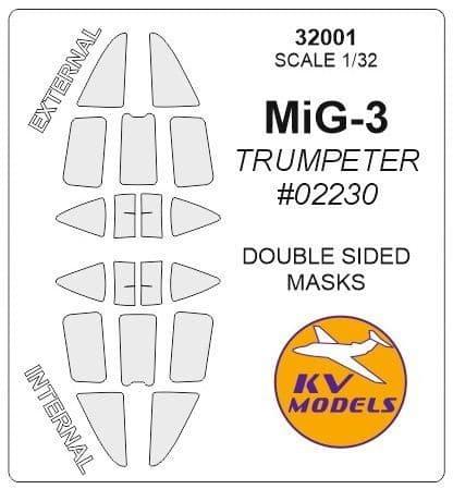 KV Models 1/32 Mikoyan MiG-3 Double-Sided Canopy Paint Mask # 32001