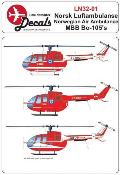 Lima November 1/32 Norsk Luftambulanse MBB Bo-105 # 32001