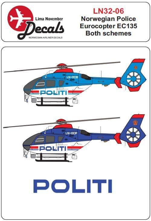 Lima November 1/32 Norwegian Police Eurocopter EC135 # 32006
