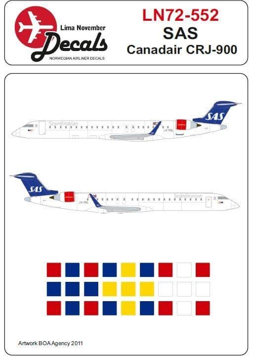 Lima November Decals 1/72 SAS Canadair CRJ-900 # 72552