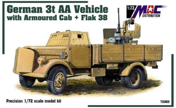 Mac Distribution 1/72 Armoured Cab 3t AA Vehicle with Flak 38 # 72069