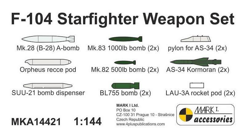 Mark I Models 1/144 Lockheed F-104 Starfighter Resin Weapon Set # MKA14421