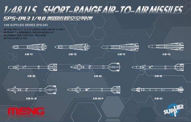 Meng 1/48 U.S. Long/Medium Range Air-to-Air Missiles # SPS-044