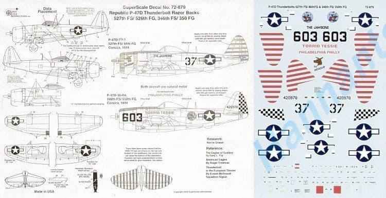 Microscale Decals 1/72 Republic P-47D Thunderbolt 'Razorback' # SS72879