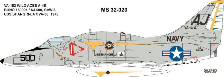 Milspec 1/32 A-4E Skyhawk VA-152 Wild Aces 1970 USS Shangri-LA CVA-38 # 32020