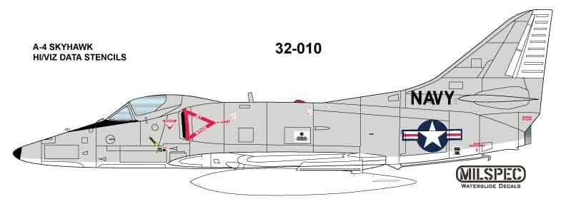 Milspec 1/32 Douglas A-4 Skyhawk HI/VIZ DATA STENCILS # 32010