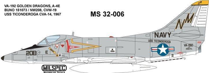 Milspec 1/32 Douglas A-4E Skyhawk VA-192 GOLDEN DRAGONS 1967 # 32006