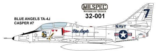 "Milspec 1/32 Douglas TA-4J Skyhawk ""CASPER"" BLUE ANGELS Flight Demo Team # 32001"