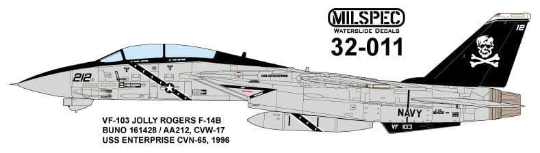 Milspec 1/32 Grumman F-14A Tomcat VF-103 JOLLY ROGERS 1981 USS Nimitz # 32011