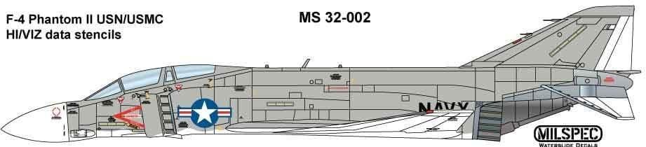 Milspec 1/32 McDonnell F-4B Phantom Hi Viz /Data Stencils # 32002
