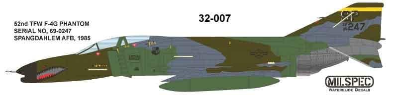 Milspec 1/32 McDonnell F-4G Phantom 52nd TFW SPANGDAHLM AB 1985 # 32007