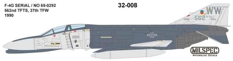 Milspec 1/32 McDonnell F-4G Phantom 652nd TFTS 37th TFW 1990 # 32008