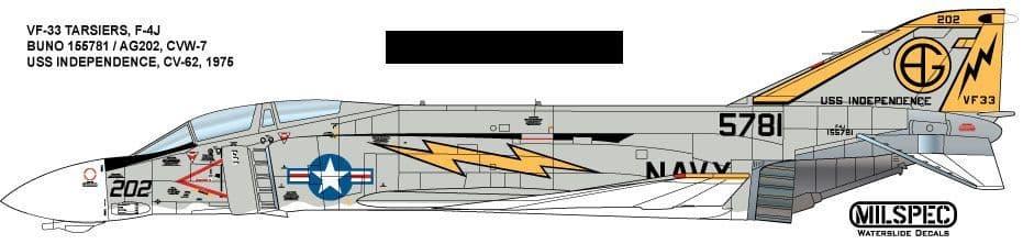 Milspec 1/32 McDonnell F-4J Phantom VF-33 Tarsiers 1975 USS Independence # 32047