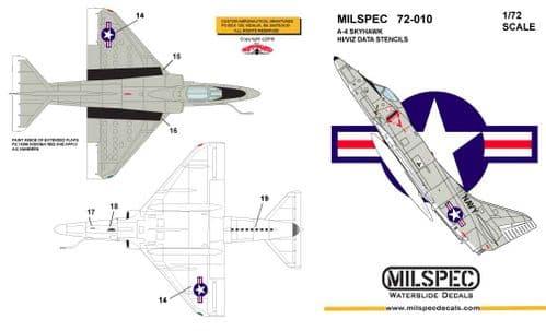 Milspec 1/72 Douglas A-4 Skyhawk HI/VIZ Data Stencils # 72010