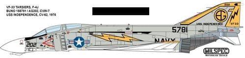 Milspec 1/72 F-4J Phantom VF-33 TARSIERS 1975 USS Independence # 72047