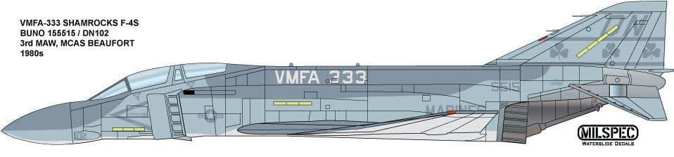 Milspec 1/72 F-4S Phantom VMFA-333 Buno 155515/DN102 Shamrocks MCAS Beaufort # 72014