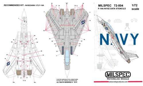 Milspec 1/72 Grumman F-14A Tomcat HI/VIZ DATA STENCILS # 72004