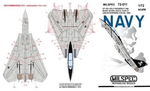 Milspec 1/72 Grumman F-14A Tomcat VF-103 Jolly Rogers 1981 USS Nimitz # 72011