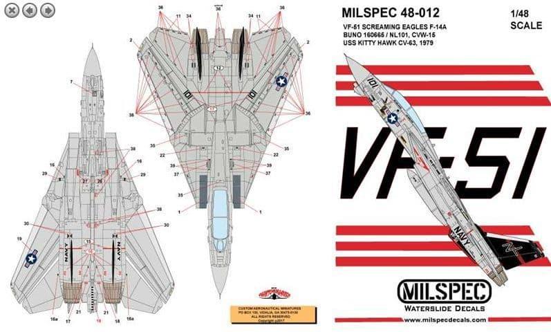 Milspec 1/72 Grumman F-14A Tomcat VF-51 Screaming Eagles F-14A # 72012