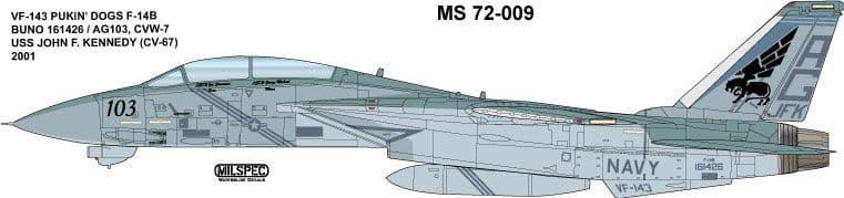 Milspec 1/72 Grumman F-14B Tomcat VF-143 'Pukin' Dogs 2001 # 72009