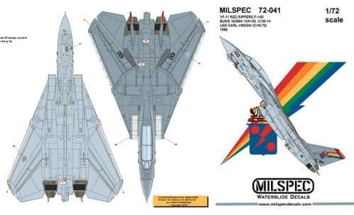 Milspec 1/72 Grumman F-14D Tomcat VF-11 RED RIPPERS # 72041