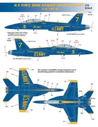 Milspec 1/72 McDonnell-Douglas F/A-18E/F Hornet US Navy Blue Angels 2021 # 72056