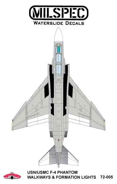 Milspec 1/72 McDonnell F-4B Phantom Walkways/Formation Lights # 72005
