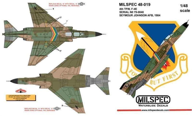 Milspec 1/72 McDonnell F-4E Phantom 4th TFW 1984 SEYMOUR JOHNSON AFB # 72019
