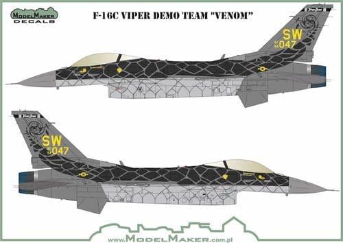 Model Maker Decals 1/72 Lockheed-Martin F-16C Fighting Falcon Viper Demo Team 'VENOM' # D72157